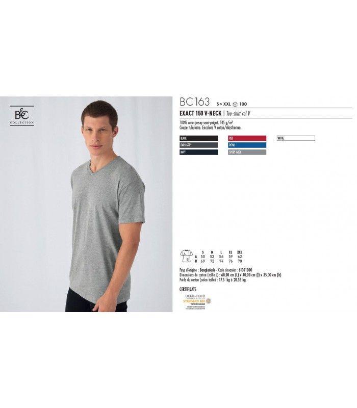 TEE-SHIRT V-NECK 'COL V 145g | ref : BC163B